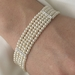 Silver Ivory Pearl with Cubic Zirconia 5 Row Bracelet B 602