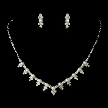 Necklace Earring Set 524 Silver White