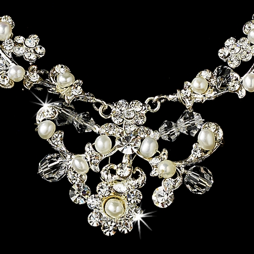 Necklace Earring Set 7500 Silver White
