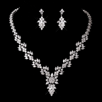 Silver Clear Necklace and Earring Set 1281