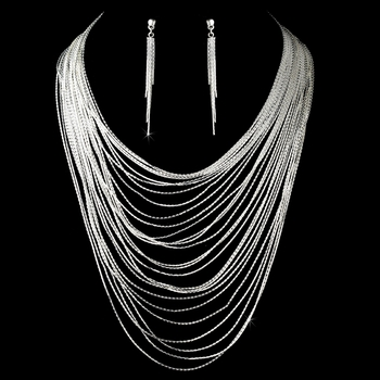 Necklace Earring Set 2987 Silver