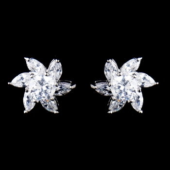 Antique Rhodium Silver Clear CZ Crystal Flower Stud Earrings 8576**Discontinued**