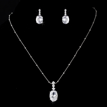 Silver Plated Oval Rhinestone Simplicity Accented Necklace & Earring Set - NE 8419