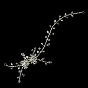 Silver Clear Crystal & Pearl Headpiece 908