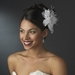 Bridal Flower Headpiece with Crystals & Feathers Clip 1142 White or Ivory