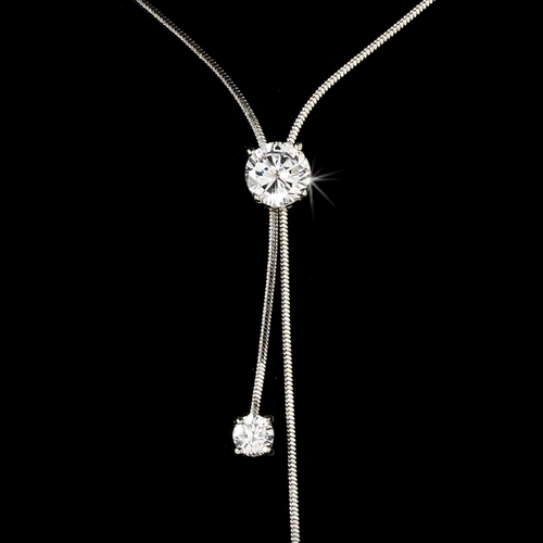 Silver Cubic Zirconia Tripple Solitaire Necklace N3386-S