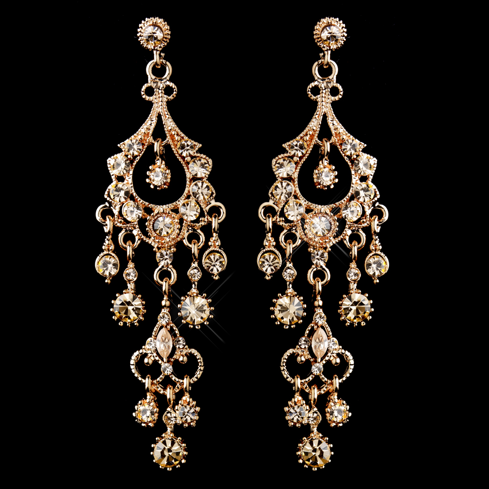 - Antique Rose Gold Champagne Crystal Chandelier Earrings 1028