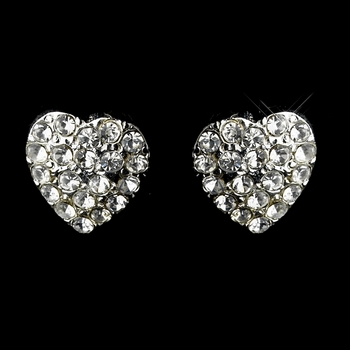 Silver Clear Rhinestones Heart Earrings 675