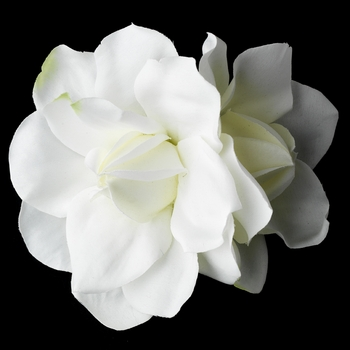 * Realistic Looking Diamond White Twin Gardenia Flower Hair Clip or Clip Brooch - Clip 414