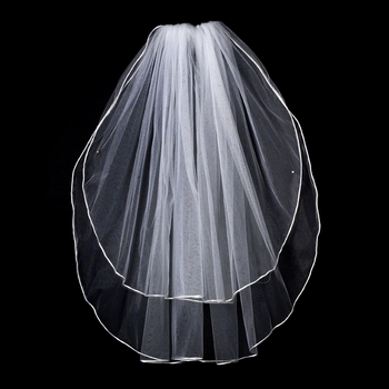 "VR E White - Rattail Satin Corded Edge Veil, 2 Layers Elbow Length Veil (25"" x 30"" long)"