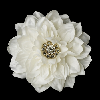 Ivory or Diamond White Gold Bridal Flower Hair Clip 436