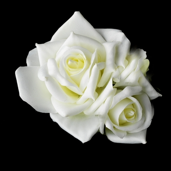 * Classic Diamond White Pointed Garden Rose Flower Hair Clip 513***Discontinued***