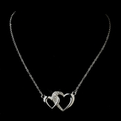 Silver Clear Rhinestone Double Heart Necklace 12984