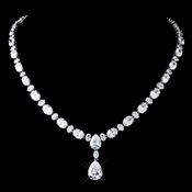 Antique Silver Clear CZ Crystal Necklace 8972