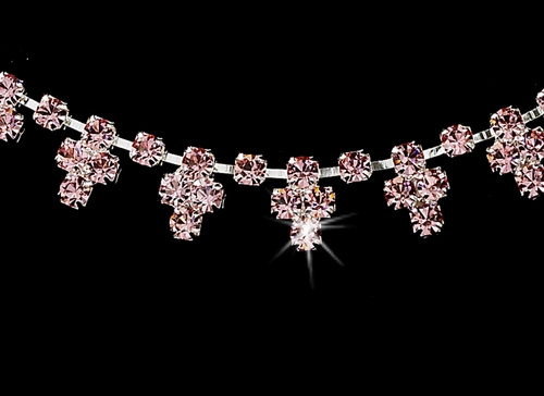 * Necklace Earring Set 352 Silver Pink