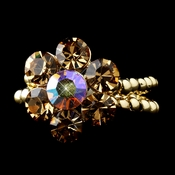 Gold Topaz AB Rhinestone Flower Ring 17 ***Discontinued***