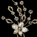 * Hair Pin 1715 Silver or Gold with Rhinestones and White Enamel Flower
