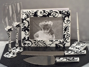 Black Swirl Wedding Accessory Set - Guest Book, Pen, Flutes & Cake Server Set