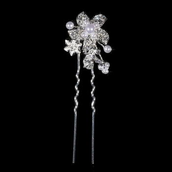 * Fabulous Silver Clear Crystal & White Pearl Flower Hair Pin 796