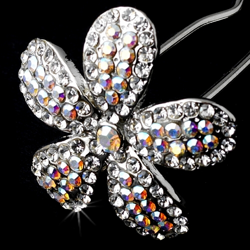 * Charming Silver Clear & AB Crystal Flower Hair Pin 1161