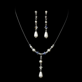 Necklace Earring Set  8154 Silver White