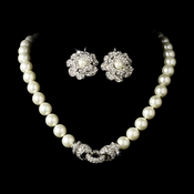 Necklace Earring Set N 3602 E 9103 Silver Ivory