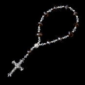 Clear Topaz Crystal Bead with Silver Cross Bracelet 247