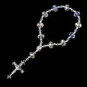 Clear AB Crystal Bead with Silver Cross Bracelet 247