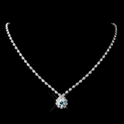 Silver Aqua & Clear Round Rhinestone Necklace 0511