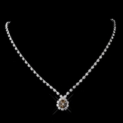 Silver Brown & Clear Round Rhinestone Necklace 0511