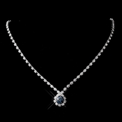 Silver Navy & Clear Round Rhinestone Necklace 0511