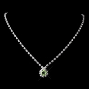 Silver Peridot & Clear Round Rhinestone Necklace 0511