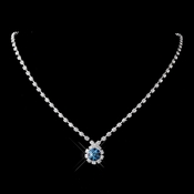 Silver Teal & Clear Round Rhinestone Necklace 0511