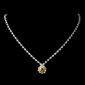 Silver Topaz & Clear Round Rhinestone Necklace 0511