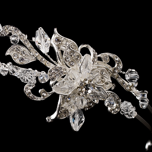 * Silver Clear Crystal Flower Headpiece HP 903
