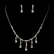 Antique Silver Rhodium Clear Rhinestone Dangle Necklace & Earrings Jewelry Set 0231