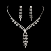 Antique Silver Clear Rhodium Dangling Round Rhinestone Necklace & Earrings Jewelry Set 1113
