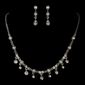 Silver Clear Round Rhinestone Dangle Necklace & Earrings Jewelry Set 2404