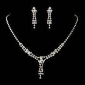 Silver Clear Navette & Round Rhinestone Necklace & Earrings Jewelry Set 7415