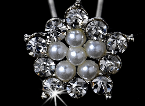 * 12 Lovely Silver Clear Crystal & Ivory Faux Pearl Star Hair Pins 0084