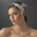 Elegant Ribbon Headpiece w/ Vintage Feather Side Accent HP-1532 White Only