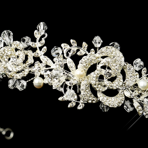 Antique Silver Freshwater Pearl & Crystal Bead Swirl Headband Headpiece 860