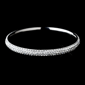 Silver with White Enamel & Clear Rhinestones Bangle Bracelet 8971