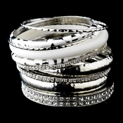 Silver & White Rhinestone Animal Print Stackable Bracelet Set 8868