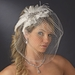 Vintage Couture Feather Bridal Headpiece with Bird Cage Veil Clip in White or Ivory 476
