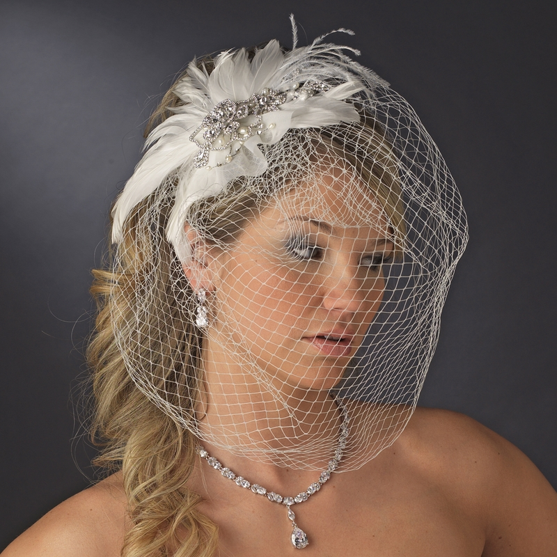 Vintage Wedding Hairstyles With Birdcage Veil: Wholesale Vintage Bridal Feather Headpiece Clip With