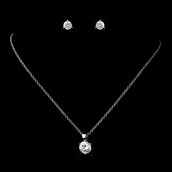 Antique Rhodium Silver Round CZ Crystal Pendent Necklace & Earrings Set 9970