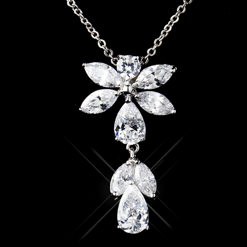 Antique Rhodium Silver CZ Crystal Flower Drop Necklace & Earrings Jewelry Set 9971