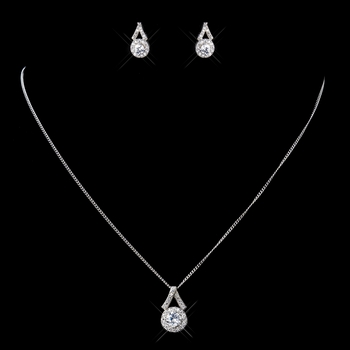 Antique Rhodium Silver CZ Crystal Flower Necklace & Earrings Jewelry Set 9973