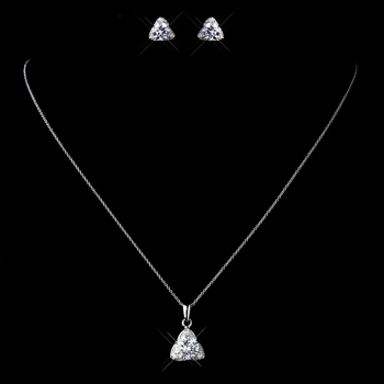 Solid 925 Sterling Silver CZ Crystal Triangle Pendent Drop Necklace & Earrings Jewelry Set 9979